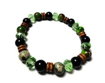 variscite stretch bracelet green and black size SM 50% OFF