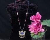 Lapis Lazuli Necklace, Lapis Pendant Necklace, Lapis Jewelry, Moroccan Jewelry, Tribal Necklace, Ethnic Jewelry, Crescent Moon Pendant