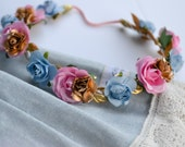 Pink Vintage Blue Gold Flower Crown - Floral Halo Boho Headband Newborn Photo Prop Baby Toddler Kids Weddings