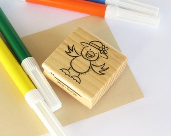 Rubber Stamp wood mounted Little ckicken