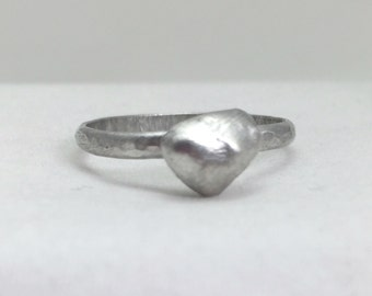 Sterling Silver Pebble Ring, Silver Pearl Ring, Stacking Ring