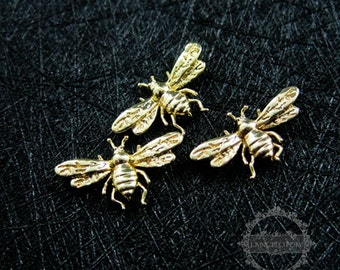 6pcs 9x15mm gold plated brass tiny bee bug DIY pendant charm jewelry findings supplies 1850257