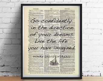 THOREAU Walden Dictionary Art Print Poster Quote Live the Life You Have IMAGINED Inspirational Sailing Antique Book Page A3 8x10 +More Sizes