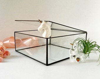 "Glass Case, Large Glass Display Box, Glass Jewelry Box, Gift For Her, Wedding Display Box, Clear Glass Jewelry Box 10""x 10""x 4"""