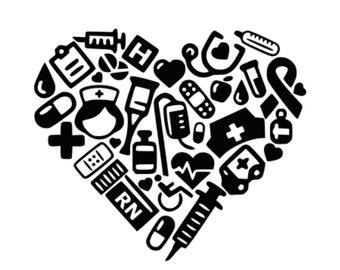 RN Collage Heart svg Nurse svg Medical svg Lpn svg Nurse Heart Nurse's Cap svg Nurse Tshirt svg Nurse Stethoscope svg decal svg cutting file