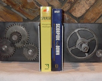 Industrial sprocket or gear bookends that move or rotate