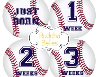 Baseball Baby Boy Baby FIRST MONTH Stickers - Baseball Nursery - Just Born Baby Monthly Sticker - Baby Boy Monthly Baby Sticker - BN115