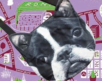 Boston Terrier,  LARGE cross body, tote bag, pug lover tote, dog print tote, pet portrait bag, pet lover bag, animal portrait bag, CB-058
