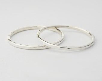 Sterling Silver Stack Ring Set of 2 Rings 16ga Hammered