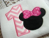 1st Birthday Minnie Mouse applique design, embroidery design,  machine embroidery, Happy Birthday Mouse instant download, minnie mouse ears