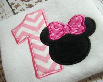 SALE 30% off 1st Birthday applique design, embroidery design, mouse ears appliqué design, machine embroidery, Happy Birthday Mouse