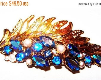 Art Nouveau Brooch Signed Made Germany Blue Rhinestones & Pearls Gold Metal Leaf Feather Design 1930s Old