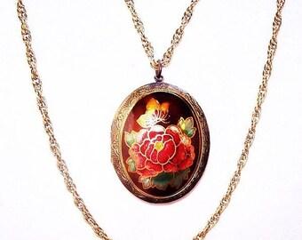 "Hobe Locket Pendant Necklace Double Gold Chains Red Roses Cloisonne Enamel  24"" Vintage"