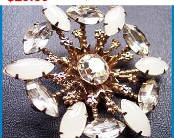 "Designer Brooch Pin Signed Garne Sparkly Clear Ice Rhinestones Gold Metal 2.5"" Vintage"