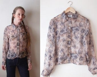 SPRING CLEARANCE SALE_Vintage Sheer Button Up Blouse with Grey Roses 90s Club Kid