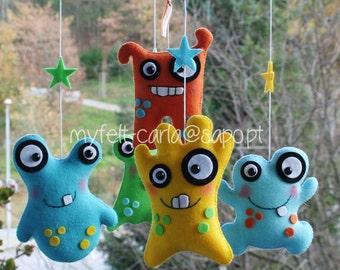 Baby Mobile, Monster Mobile, Custom Monster Crib Mobile, Baby Crib Mobile, Nursery Monsters, Space Baby Boy Bedding, Dolls, Furniture, Sale