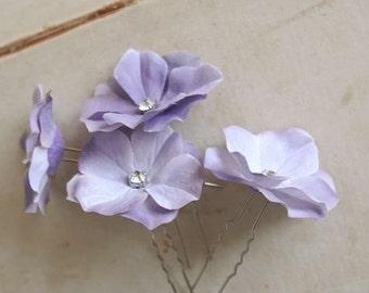 Lavender Flower Hair Pins Wedding Hair Pins Floral Hair Accessories Small Hair Flowers Bridesmaids Gift Lilac Purple Hair Piece - set of 4