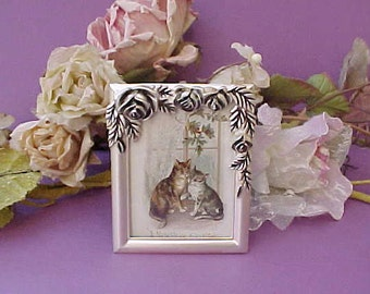Adorable Little Silver Picture Frame with Victorian Kitty Cat New Year Scrap