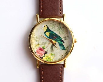 Postage Stamp Flower Bird Vintage Brown Leather Women Watch 01-008