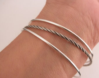 Set of 3 bangle bracelets  - plain and twisted  bangles- 925 solid sterling silver - stacking bangles - handmade  bangles - BB 16009