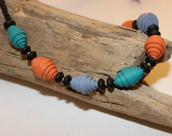 SALE! Beaded Necklace, Teal Orange Purple Necklace, Simple Necklace, Statement Necklace, Womens Necklace