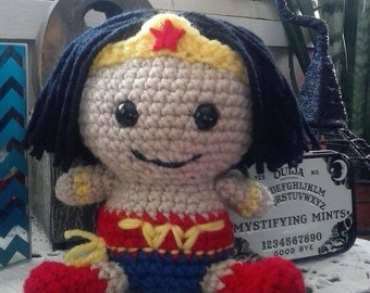 Wonder Woman Inspired Fathead Amigurumi Plush Doll