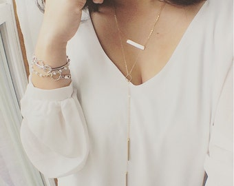 Bar Drop Necklace/ Double Bar Lariat Necklace/Long Necklace/Y Shaped Necklace/ Lariat Necklace/ Y Necklace/ Layering Everyday Wear