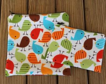 Reusable ZIPPER Sandwich Bag and Snack Bag Combo, Birds - ZIPPER Sandwich Bag