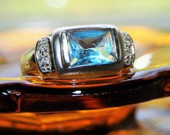 ESTATE BLUE TOPAZ Diamond Ring c1960
