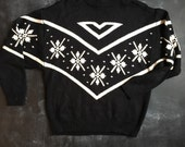 Vintage rrrrruss by Russ Togs black and white fairisle snowflake mock neck Sweater