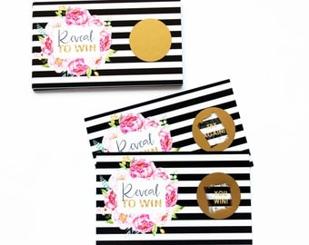 Gorgeous Floral Scratch Off Cards -- Black Stripe -- Baby Shower Game -- Bridal Activity -- Spade Paper Goods -- Party Supplies -- Set of 25
