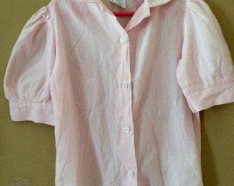 vintage pink pinstripe blouse 6X
