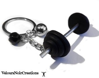 Keychains barbell man lifting weights Fitness bodybuilding