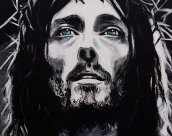 Modern headboard Jesus of Nazareth pop art sacred art painted by hand