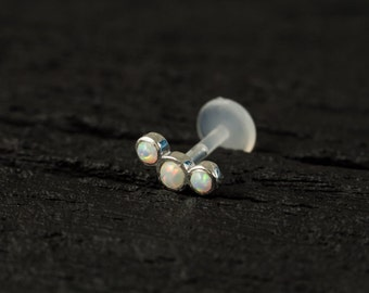 White Opal 3 stones curved push in 16gauge bio flexible tragus / cartilage / conch piercing