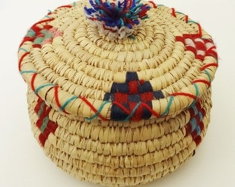 ETHNIC COVERED BASKET - Woven with Coiled Technique - Decorated with Multicolored Wool Thread