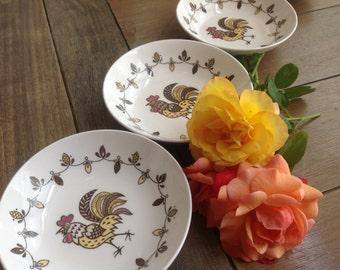 6 Chanticleer Farmhouse Small Rooster Dessert Bowls Made in Japan