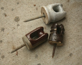 Set of Three Brown and White Porcelain Insulators with Screws, Fence Topper, Topper, Stringer, Knobs, Handles, Hooks