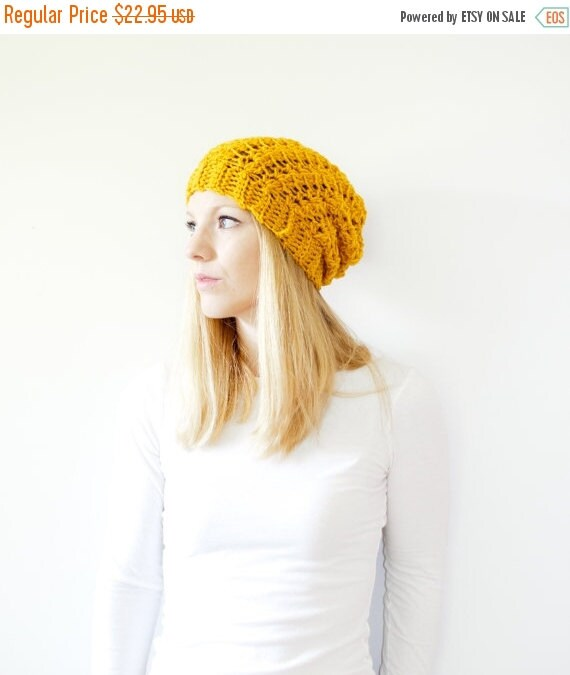SUMMER SALE Slouchy hat beanie crocheted - mustard yellow goldenrod - wool - the SUMTER