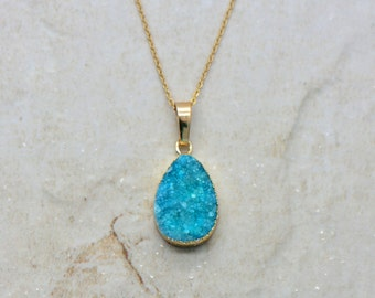 Teal Druzy Drop Necklace, 24k Gold Plated w/ 24k Gold Plated Stainless Steel Chain, Dainty Minimal Round Layering Long Necklaces (AS055)