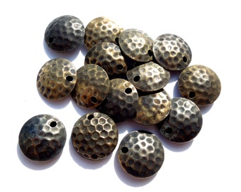 VINTAGE: 12 Hollow Antiqued Silver Metal Beads  - Metal Hollow Bead - 15mm - (7-C3-00003830) OS no