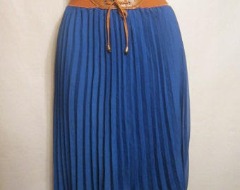 Vintage Blue Pleated Skirt with Elasticated Waist Band