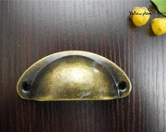 1/2/10 Pcs 82*35*18mm antique brass color Seashell Cup Pulls dresser drawer pulls handles / Cabinet Knob Pull Handles H002