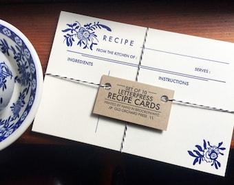 Letterpress Recipe Cards- Set of 10 - Blue Floral