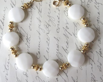 White Onyx and Gold Bracelet