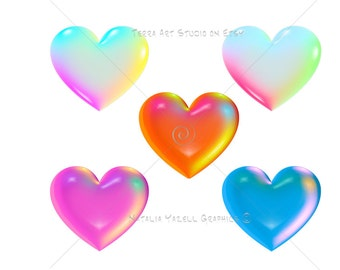 Rainbow Hearts in 3D, value set of 5 colors, digital graphic, instant download, colorful clip art for scrapbooking and crafts