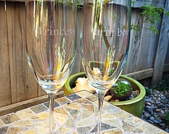 Princess & farm boy. As you wish. - Princess Bride wedding - Hand-Etched Set of 2 champagne toasting flutes/glasses - 8oz USA!