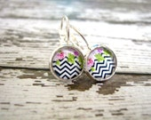 Chevron Earrings : Floral Glass Photo Jewelry