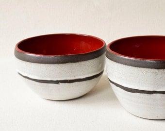 Rice Bowl/Cereal Bowl/Ceramic Bowl/Ceramic Rice Bowl/Ceramic Cereal Bowl/Yogurt Bowl/White and Red Bowl (C43)