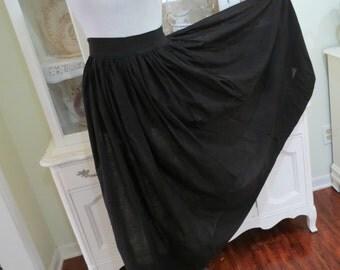 Black Vintage Apron, Long Black Victorian Length Apron, Ankle Length Apron, Costume Theater Prop, Ladies Vintage Apparel TheSweetBasilShoppe